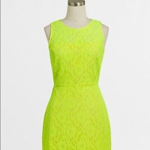 NWT J. Crew neon lace yellow shift dress size 2